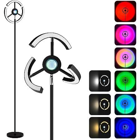 NODARK Lampadaire Sunset Lampe, RGB Réglable Lampe de Projection Coucher de Soleil, 3000K~6500K LED Changement de Couleur Moderne Liseuse, 1.8M Lampadaire avec Télécommande pour Salon Chambre Bureau