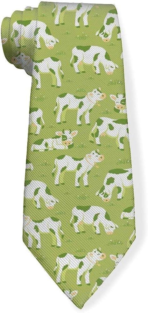 Cows Graze On The Meadow Mens Classic Color Slim Tie, Men's Neckties, Fashion Boys Cravats