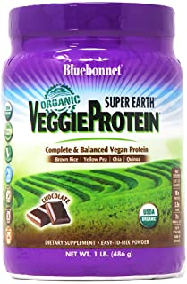 Bluebonnet Nutrition Super Earth Organic Veggie Protein Powder, Soy Free, Gluten Free, Kosher, Non-GMO, Vegan, USDA Organi...