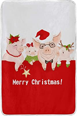 Chen Miranda Xmas 2019 Year Happy Pigs Blanket Super Soft Lightweight Warm Blanket Microfiber Season Blanket 60x90 inches for Bed Sofa Couch Office Home Decor