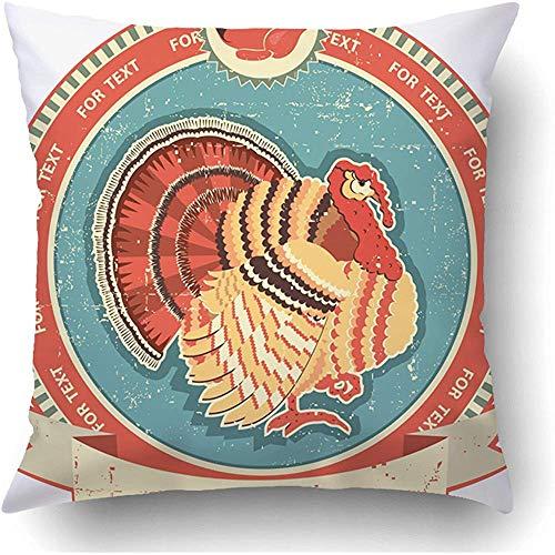 Babydo kussensloop wit oogstfeest-turkei-etiket op oude wijnoogststijl-marktbadge vogel-merk kok boerderij kussenslopen gezellig boekenkast kussensloop polyester quad