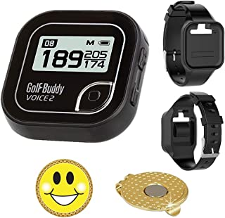 Golf Buddy Voice 2 Golf GPS/Rangefinder Bundle with Wrist Band, Ball Marker and Magnetic Hat Clip (Smiley Face)