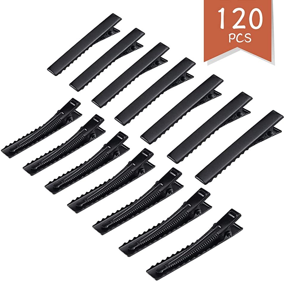 Wlnner 120 Pack 2.16 Inches Duck Bill Hair Clips, Black Metal Alligator Curl Clips Sectioning Clips, Hair Clips Hairdressing Salon Alligator Hair Pins Teeth Bows Hair Pins Clips for Hair Extensions