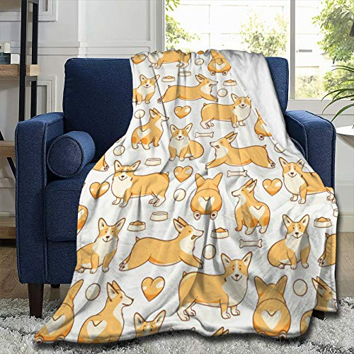 "ARTIEMASTER Corgi Dog More Love Flannel Blanket Throw Cozy Soft Quilt Fit Office Dormitory Home Farmhouse Travel 80""x60"""