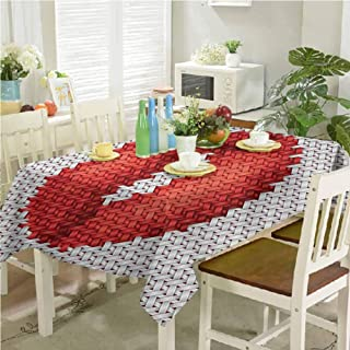 dsdsgog Wrinkle Free Tablecloths Lips Illustration Embroidery on Fabric Pattern Cosmetics Stylish Womanly Ornament 54