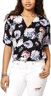 BCX Juniors' Floral Printed Wrap-Front Blouson Top