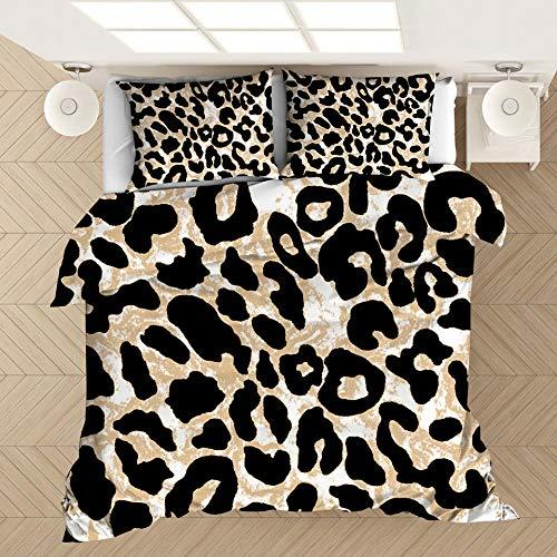 KIrSv Funda de edredón y Funda de Almohada con Estampado de Leopardo en 3D, Adecuada para Cama Individual Doble tamaño King, la Mejor Ropa de Cama para Novios y novias-172x218cm (2 Piezas) _4