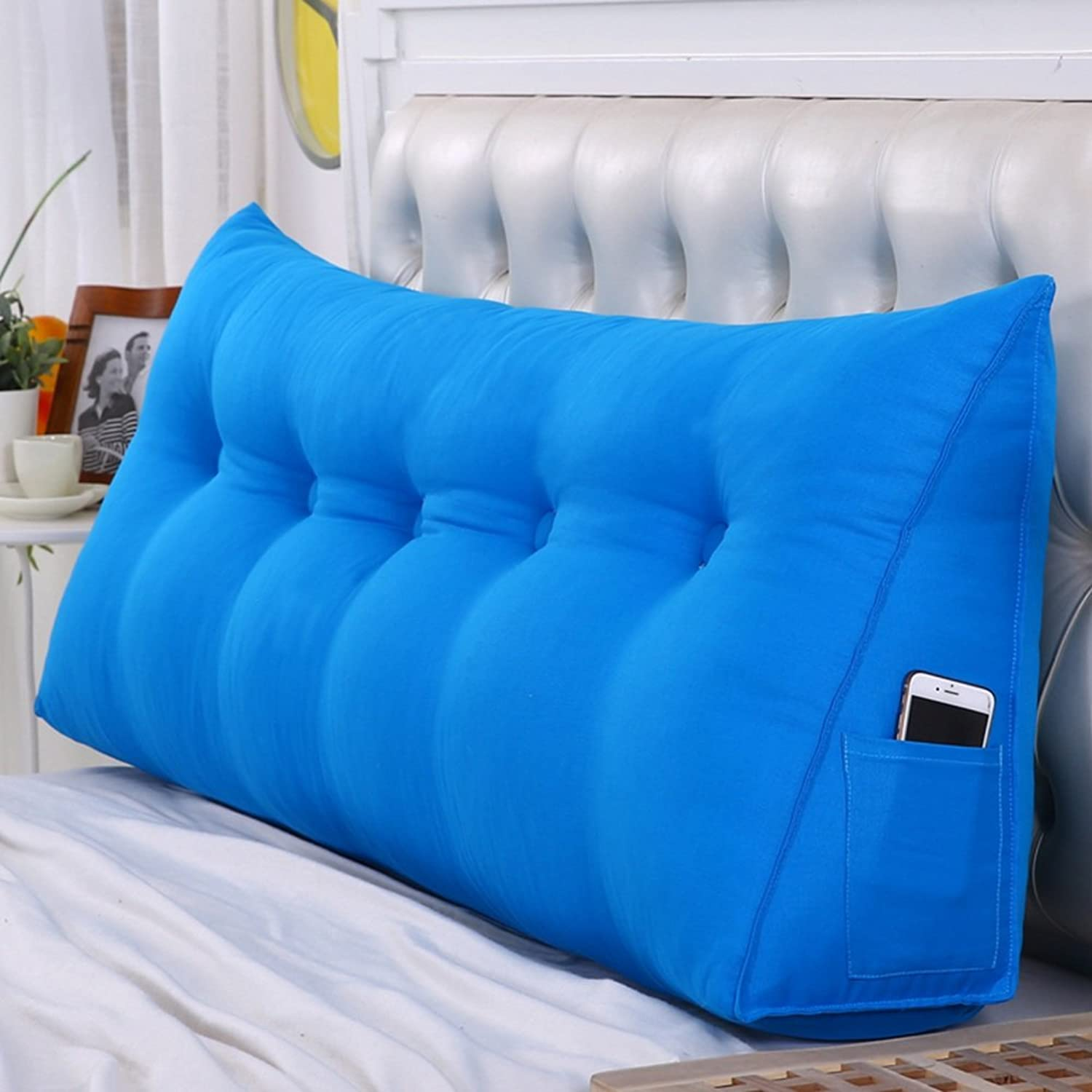 WENZHE Upholstered Fabric Headboard Bedside Cushion Pads Cover Bed Wedges Backrest Waist Pad Triangular Pillow Soft Case Home Bedroom Lumbar Pillow Sofa Pillow Back Cushion Multifunction, Washable, 20cm Thick, 5 colors, 8 Sizes Optional ( color   3  , Siz