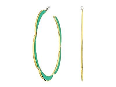 Kate Spade New York Sliced Scallops Enamel Hoops Earrings (Turquoise) Earring
