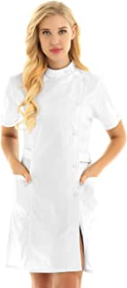 Womens Slanting Button Front Hospital Nurse Scrub Lab Coat Uniform Dress