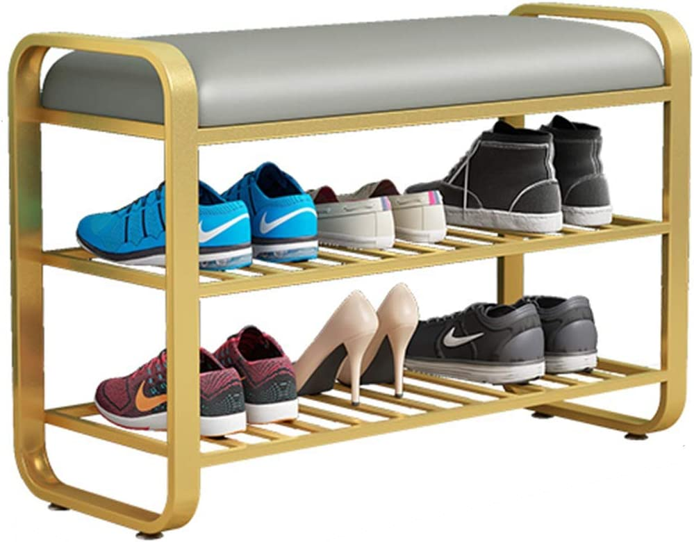 Shoe Bench FENGYANFANG- Metal Indefinitely Two-Layer Rack PU trust Cu Soft Storage