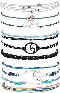 Long tiantian 2 Pcs Summer Surfer Wave Anklet Bracelet for Woman,Adjustable Waterproof Ocean Wave Braided Rope String Bracelet Set