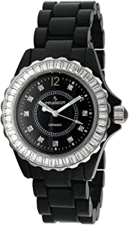 Peugeot Swiss Black Ceramic Watch with Swarovski Stone Bezel and a Black Dial. PS4885BK