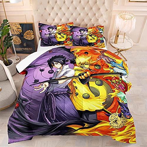KIrSv Naruto 3D Animation Juego de Cama con Funda nórdica,Suave y cómoda Cama Doble tamaño King para niños,niñas,Cama Doble,Funda nórdica Bedding-10_210x245cm(3pcs)