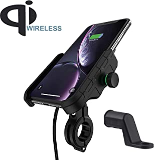 Motorcycle Phone Holder Wireless Charger Qi 15W Waterproof Handlebar Rear-View Mirror Cellphone Mount with Charger 360 Rotation Suitable for iPhone Samsung 4.0-7.0 Inch Smartphones