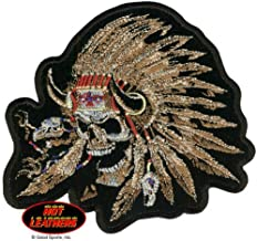 Hot Leathers, INDIAN SKULL NATIVE AMERICAN WARRIOR SKULL, Embroidered Iron-On / Saw-On Rayon PATCH - 5