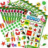 Hawaiian Aloha Bingo Game, Tropical Summer Party Games with 24 Players, Hawaiian Party Favors for Kids School Classroom Party Supplies Activity Summer Kids Party Favors