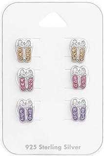 ICYROSE 925 Sterling Silver set of 3 pair Crystal Ballerina Ballet Slippers Shoes Pink Purple Peach Stud Earrings Girls (Nickel Free) 38080