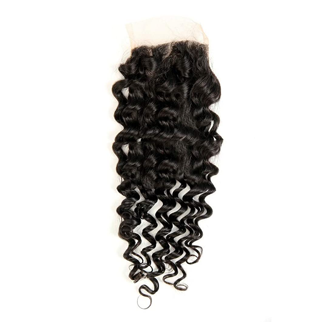 カジュアルイブ空WASAIO 4×4インチディープウェーブレース閉鎖ブラジルバージンレミー人間の髪の毛の閉鎖ナチュラルカラーウィッグ (サイズ : 18 inch)