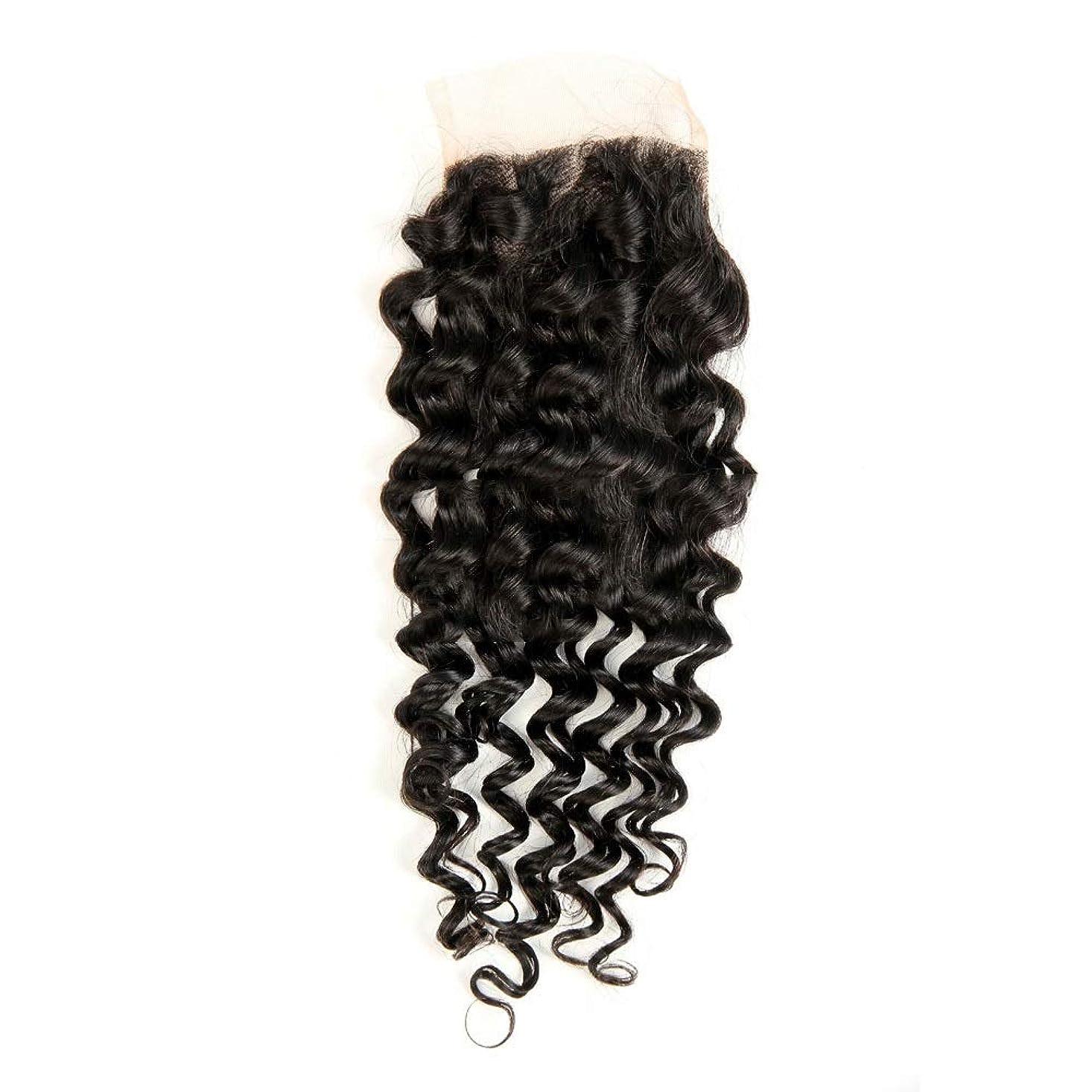 アロング批判ラオス人WASAIO 4×4インチディープウェーブレース閉鎖ブラジルバージンレミー人間の髪の毛の閉鎖ナチュラルカラーウィッグ (サイズ : 18 inch)