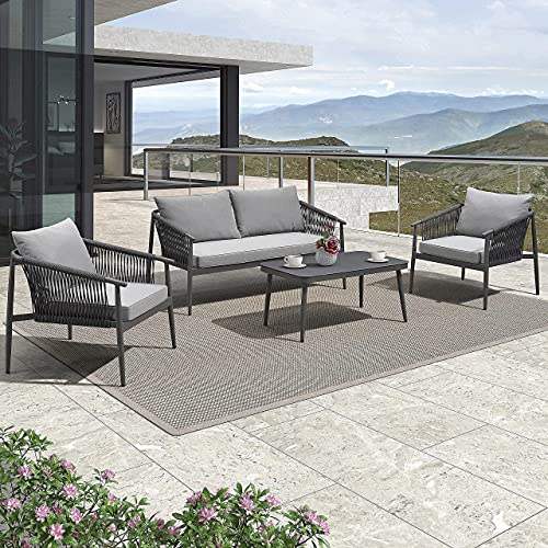 PURPLE LEAF Patio Conversation Set 4 Pieces Aluminum Frame Rope Outdoor Patio Furniture with Coffee Table, All-Weather Modern Deep Seating Sofa Set, Outdoor Patio Set with Cushions, Weilburg
