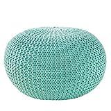 Design Pouf LEEDS 50 cm mint Bezug aus Strick Garn Sitzgelegenheit Fußhocker Sitzpouf gepolstert...