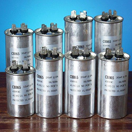 Bluelover 15-50Uf Motor Condensador Cbb65 450Vac Compresor De Aire Acondicionado Inicio Capacitor-D