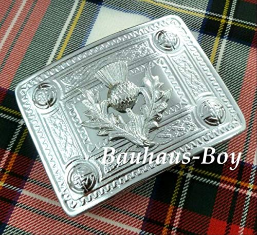 PANAMI Kilt Gürtelschnalle Chrom schottische Distel & keltische Bordüre Highland Budget Range DIY für Kleidung, Schuhe & Accessoires