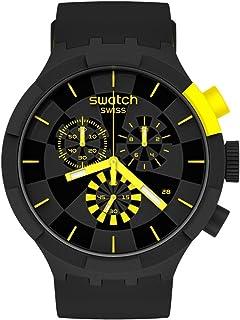 Swatch Quartz Silicone Strap, Black, 20 Casual Watch (Model: SB02B403)