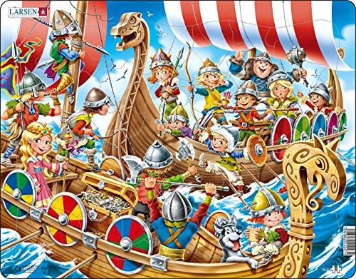 US41 Niños alegres Jugando a los Vikingos, Puzzle de Marco con 30 Piezas