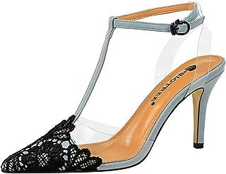 TAOFFEN Women Fashion T Strap Sandals High Heel