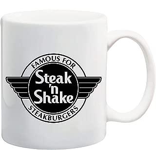 Manglam Mart Famous For Steak 'N Shake White Tea Coffee Mug Ceramic Coffee Tea Cup