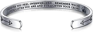 Inspirational Gifts for Women Straighten Your Crown Bracelet Engraved Mantra Cuff Bangle Birthday Jewelry Gift for Her