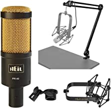 Heil Sound PR40 Large Diameter Dynamic Cardioid Studio Microphone, Black Body, Gold Grill - Broadcast Arm With XLR Cable -...