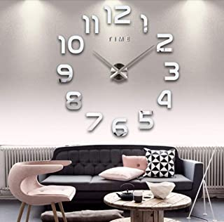 Asvert Reloj de Pared 3D Silencioso DIY de Material Acrílico con Números Adhesivos (Efecto de Espejo) y Agujas EVA para De...