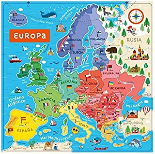 Janod Mapa DE Europa MAGNETICO Version ESPAÑOLA: Amazon.es: Juguetes y juegos