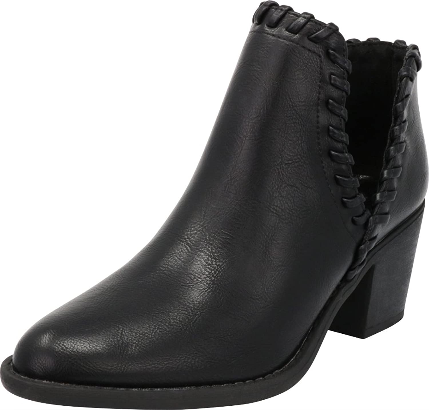Cambridge Select Women's Western Whipstitch V Cutout Stacked Chunky Block Heel Ankle Bootie