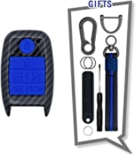 TANGSEN Key Fob Case for KIA SEDONA GRAND CARNIVAL MPV 6 Button Keyless Entry Remote Black Carbon Fiber Pattern ABS Blue Silicone Cover