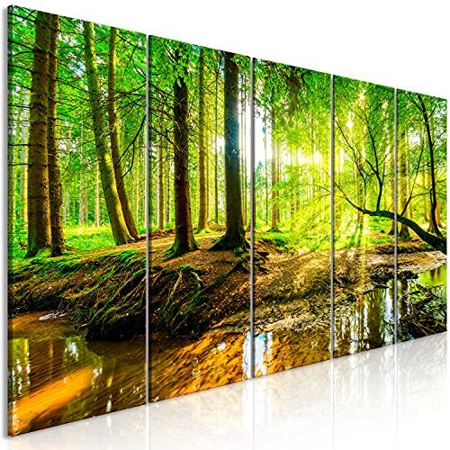 murando Cuadro Acústico Bosque 200x80 cm XXL 5 Partes Impresión Artística Lienzo de Tejido no Tejido Decoración de Pared Aislamiento Absorción de Sonidos Imagen c-B-0241-b-m
