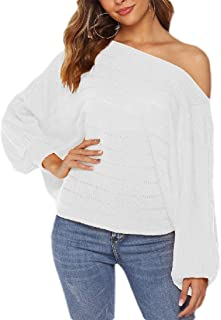 Women's Long Lantern Sleeve Sweater Pullover Loose Knitted Sweater Jumper Tops