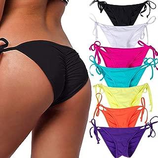 Women's Sexy Brazilian Bikini Bottom with Tie-Side Cheeky V Cut Thong Swimsuit