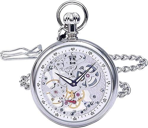 discount Regent Hills Vintage Silver Brass 2021 Case 2021 Mechanical Open Face Skeleton Pocket Watch with Chain online sale