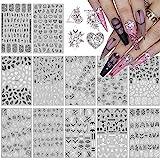 12 Piezas Nail Art Stickers Calcomanías, EBANKU Hojas en Blanco y Negro Patrón 3D Uñas Art Pegatinas Autoadhesiva Decorativas para Niñas Niño Cumpleaños Maquillaje Artículos Decoración Manicura