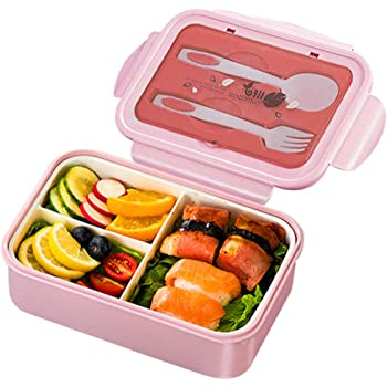 GlobalDream Tartera, Tartera Comida Caja de Bento Caja de Almuerzo Caja de Desayuno con 3 Compartimentos y Cubiertos Ideal para Almuerzo y Bocadillos para Niños y Adultos(Rosado): Amazon.es: Hogar