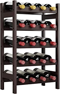 LANGRIA 20 Bottles Wine Rack, 5 Tier Bamboo Wood Holder Display Storage Shelves, Free Standing Wobble for Home Kitchen Bar Dining Living Room, Espresso