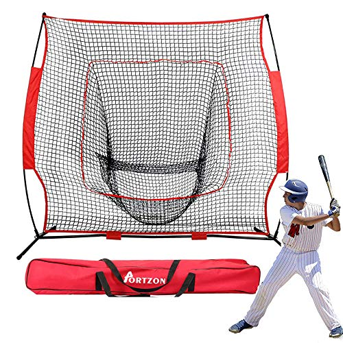 Portzon 7x7 Baseball & Softball Net | Practice Hitting, Pitching, Batting and Catching | Backstop Screen Equipment Training Aids | Includes Carry Bag