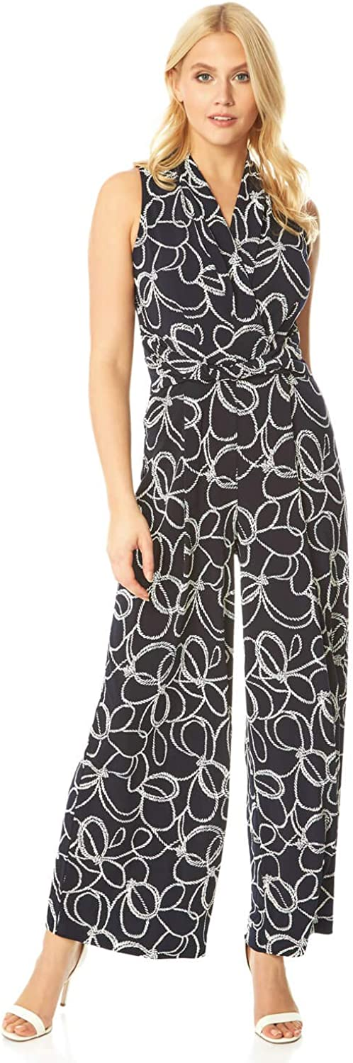 Max 71% OFF Roman Originals Women Nautical Crossover Print Jumpsuit Rope All items in the store
