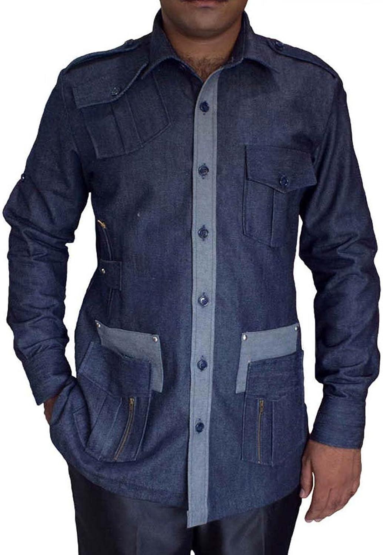 INMONARCH Safari Denim blueee Cotton 4 Pocket Bush Shirts HS106