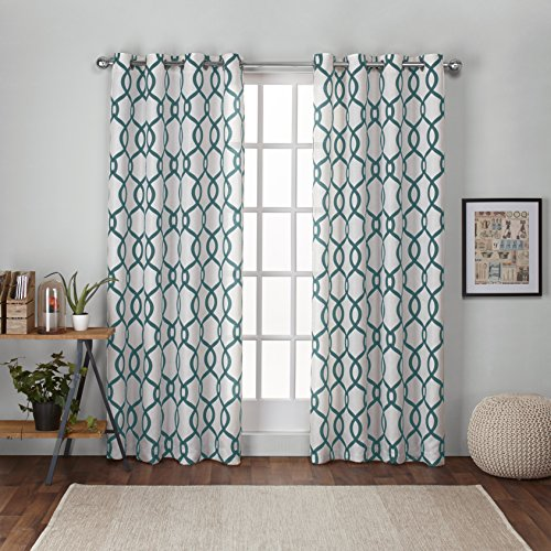 Exclusive Home Curtains Kochi Linen Blend Grommet Top Curtain Panel Pair, 54x96, Teal, 2 Count