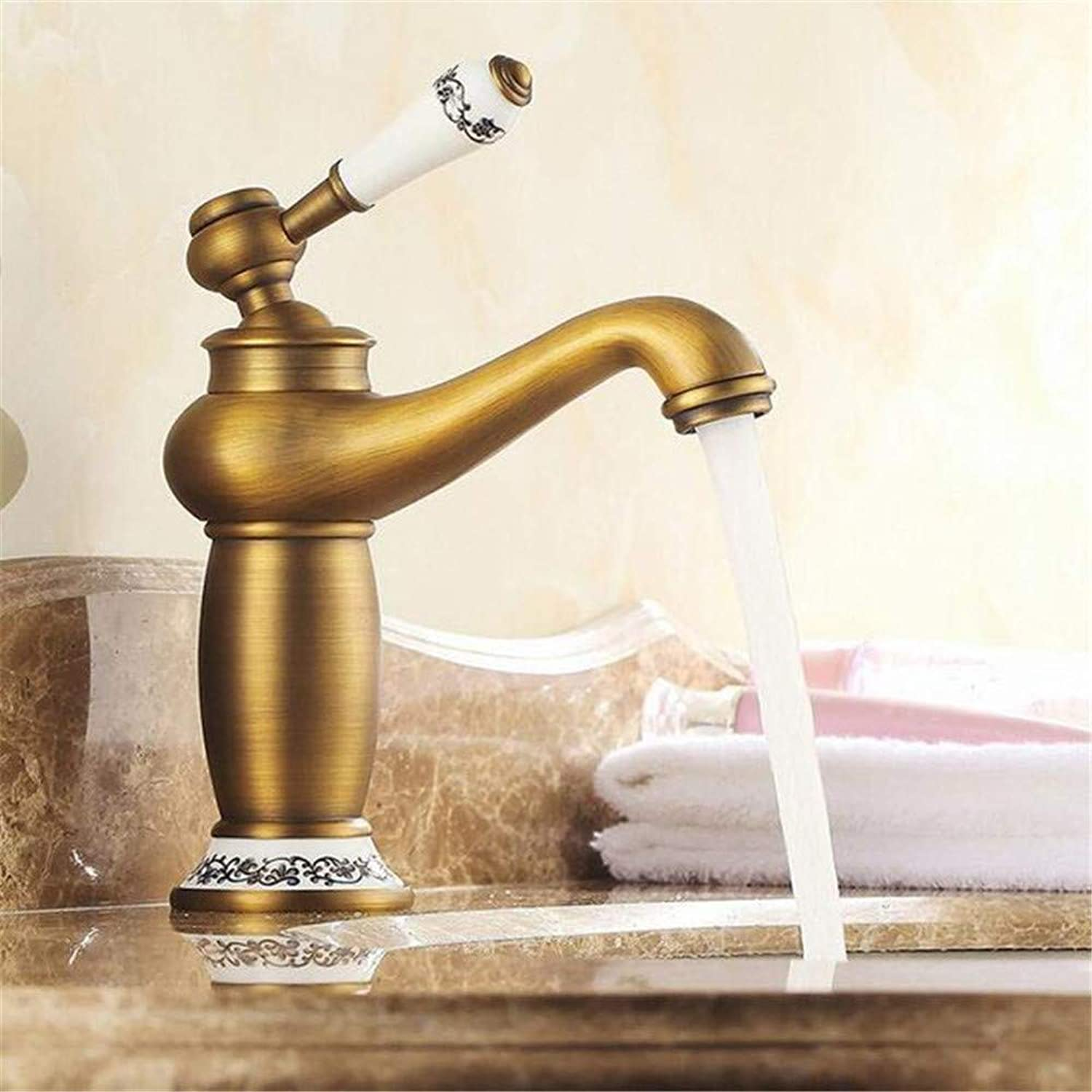 Faucetbasin Faucet Bathroom Sink Tap Retro Style Basin Sink Faucet Single Handle Vessel Sink Mixer Taps Antique Brass Ceramic Lever with Hot and Cold Water